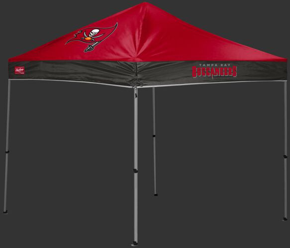 A red/black Tampa Bay Buccaneers 9x9 shelter with a team logo on the left side - SKU: 03231086112