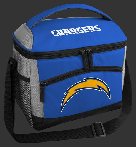 A blue Las Angeles Chargers 12 can soft sided cooler with a team logo on the front - SKU: 10111083112