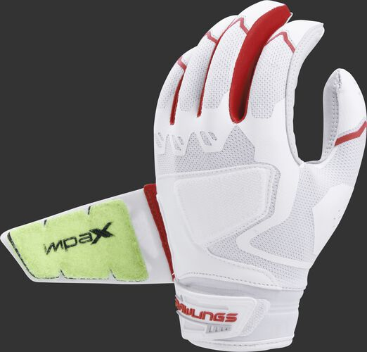 Back of a white/scarlet FPWPBG-S Workhorse batting glove with the Impax pad