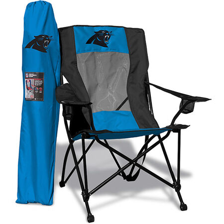 Front of Rawlings Blue and Black NFL Carolina Panthers High Back Chair With Team Logo SKU #09211090518