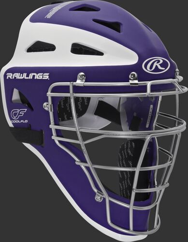 Front right of a purple/white CHVELY Rawlings Velo catcher's helmet