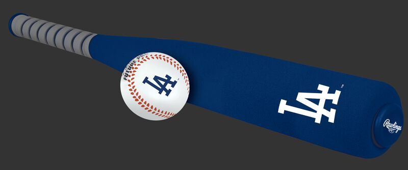 Side of Rawlings Los Angeles Dodgers Foam Bat and Ball Set in Team Colors With Team Name and Logo On Front SKU #01860011111