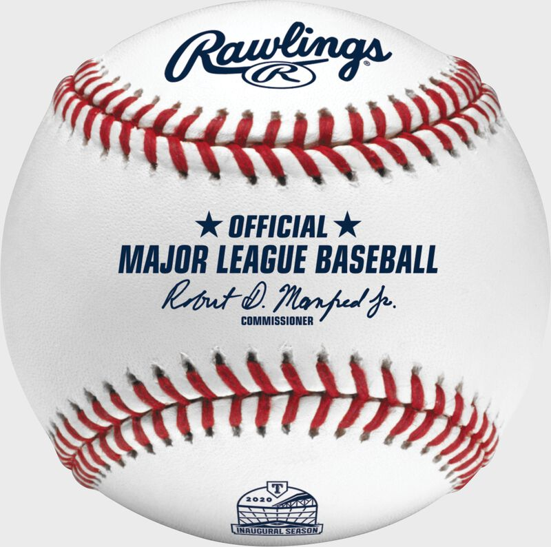 A MLB Texas Rangers inaugural season at Globe Life field ball with an Official Major League Baseball stamp - SKU: ROMLBTRIN20