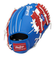Back of a blue/red Texas Rangers 10-inch I-web glove with a red Rawlings patch - SKU: 22000022111 image number null