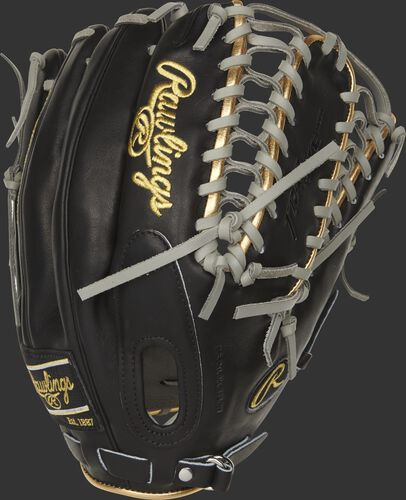Black back of a 2021 Mike Trout pattern Pro Preferred outfield glove with a fastback design - SKU: PROSMT27B