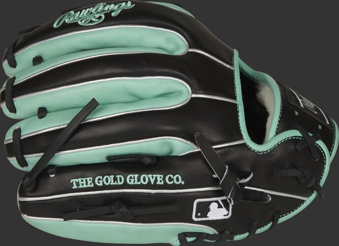 Black/mint fingers of a 11.75-Inch Pro Preferred infield glove with the MLB logo on the pinkie - SKU: PROS315-2BOM