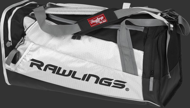 Side angle view of a white R601 Rawlings Hybrid duffel backpack
