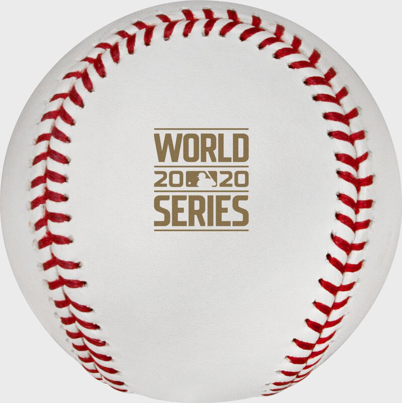 The 2020 World Series logo stamped in gold on a MLB dueling baseball - SKU: EA-WSBB20DL-R