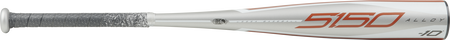 Barrel of a grey UTZ510 2020 5150 USSSA bat with orange and grey accents