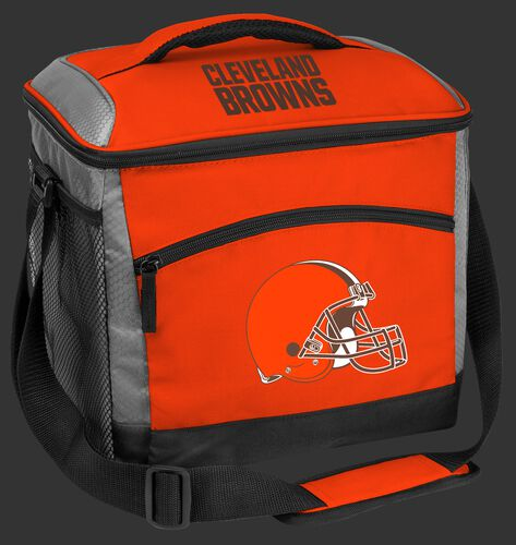 An orange Cleveland Browns 24 can soft sided cooler with screen printed team logos - SKU: 10211064111