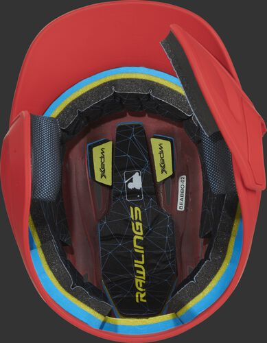 Inside of a MACHEXTR Rawlings MACH baseball helmet with IMPAX durable foam padding