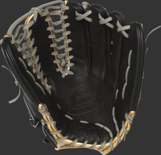 Black palm of a 2021 Rawlings Pro Preferred outfield glove with a black web and grey laces - SKU: PROSMT27B