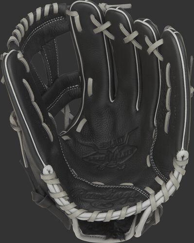 SPL150MM Rawlings Manny Machado youth baseball glove with a black palm and grey laces