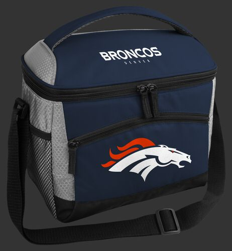 A blue Denver Broncos 12 can soft sided cooler with a team logo on the front - SKU: 10111066111