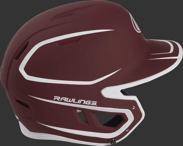 Right side of a two-tone matte cardinal/white MACH helmet