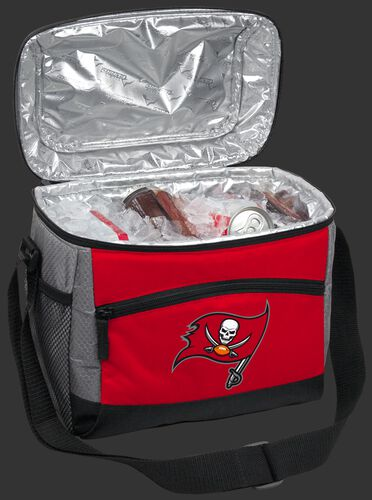 An open Tampa Bay Buccaneers 12 can cooler filled with ice and drinks - SKU: 10111086111
