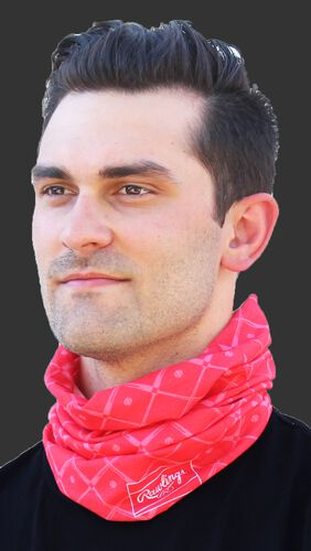 A guy wearing a red adult multi-functional neck gaiter around his neck - SKU: RC40005-600