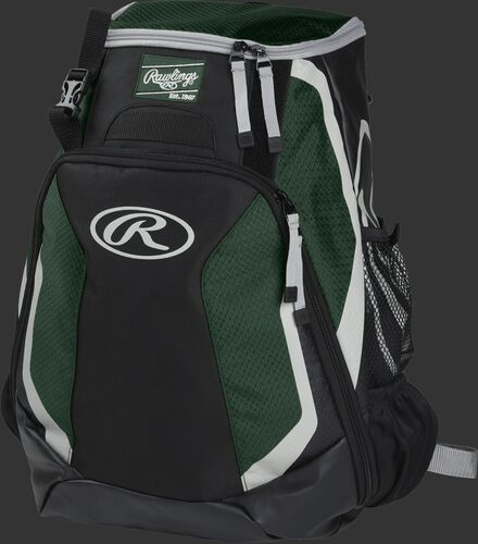 Left side of a black/dark green R500 Players team backpack with white trim