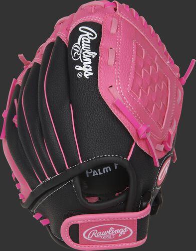 Back of a black/pink Storm 10-inch basket web softball glove with a velcro wrist strap - SKU: ACAST10BP