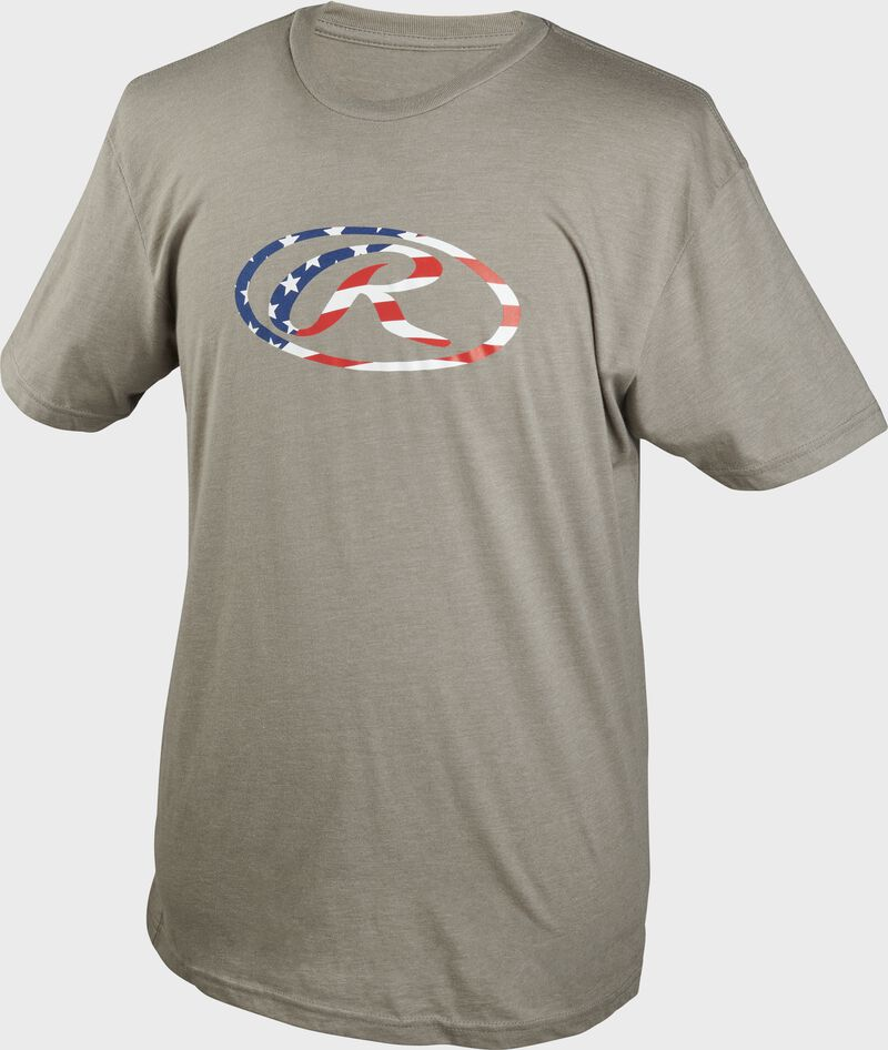 A gray Rawlings Stars & Stripes Oval-R short sleeve shirt with an American flag themed Oval-R on the chest - SKU: FLM2