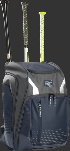 Front angle view of a Rawlings Legion bag with 3 bats in the back - SKU: LEGION-N