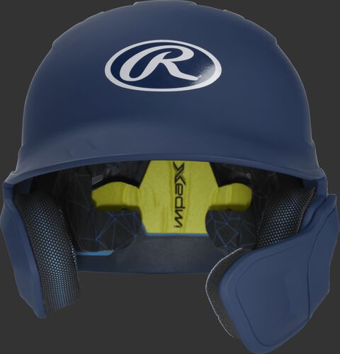 Front of a matte navy MACHEXTR high school/college Mach batting helmet with face guard extension for right hand batters