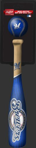Rawlings Milwaukee Brewers Softee Mini Bat and Ball Set in Team Colors With Team Name and Logo On Front SKU #01160001114