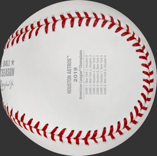 Game scores on the ALCS19CHMP baseball commemorating the Houston Astros American League Championship
