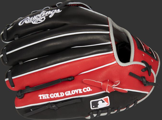 Black/scarlet back of a Cincinnati Reds Heart of the Hide infield glove with the MLB logo on the pinky - SKU: RSGPRONP4-6CIN