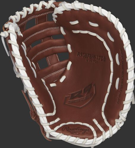 Palm view of a brown R9SBFBM-17DB Rawlings 12.5-inch softball first base mitt with a brown palm and white laces