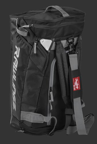 Angled view of a black R601 Rawlings hybrid bag standing up like a backpack