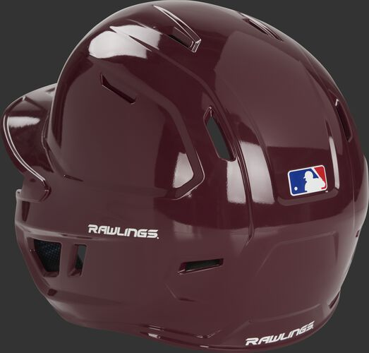 Back left of a maroon MCH01A Mach baseball batting helmet with optimized air ventilation