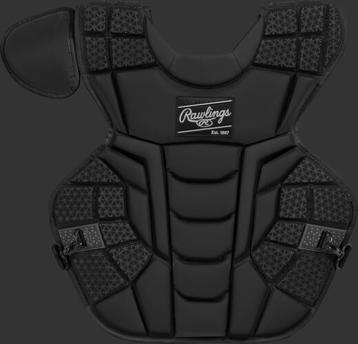 Front of a black CPMCNI Rawlings Mach intermediate chest protector with Arc Reactor Core