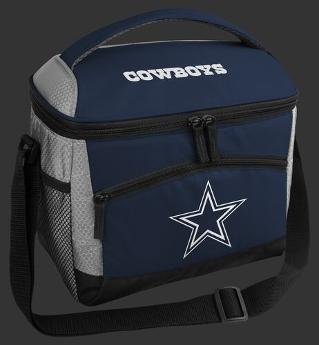 A blue Dallas Cowboys 12 can soft sided cooler with a team logo on the front - SKU: 10111065111