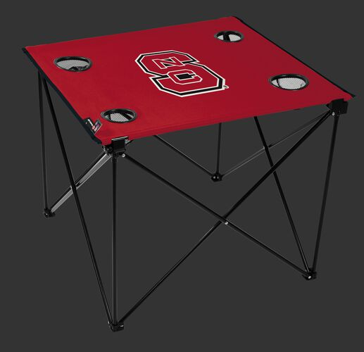 A red NCAA North Carolina State Wolfpack deluxe tailgate table with four cup holders and team logo printed in the middle SKU #00713041111
