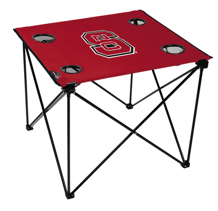A red NCAA North Carolina State Wolfpack deluxe tailgate table with four cup holders and team logo printed in the middle