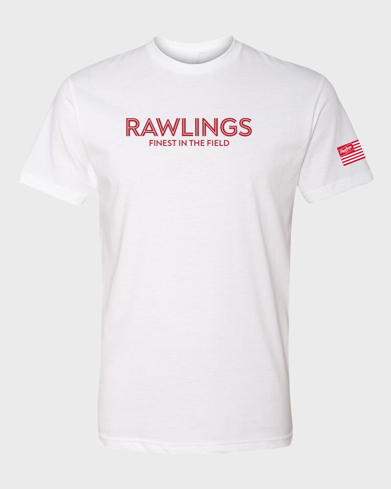 A white Rawlings Finest in the Field short sleeve shirt with a red logo and lettering on the chest - SKU: RSGTT-W