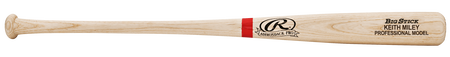 ABATSO Rawlings natural wood color bat with scarlet ring