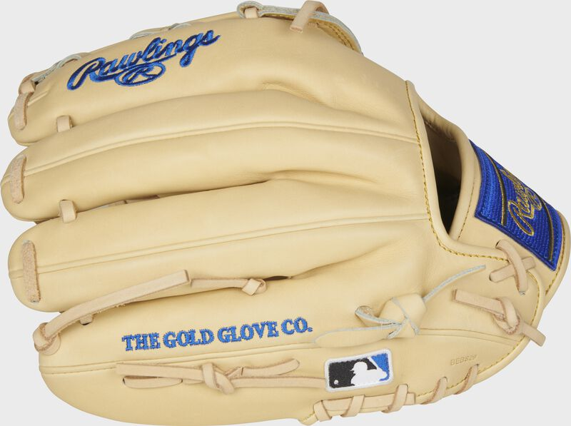 Camel fingers of a Rawlings HOH R2G 12.25-Inch glove with the MLB logo on the pinkie - SKU: PRORKB17