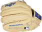 Camel fingers of a Rawlings HOH R2G 12.25-Inch glove with the MLB logo on the pinkie - SKU: PRORKB17 image number null