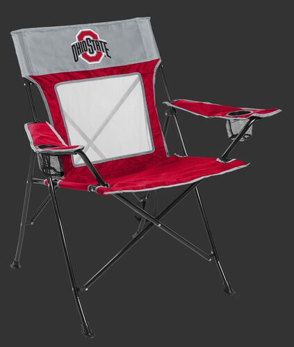 Front of Rawlings Red and Grey NCAA Ohio State Buckeyes Game Changer Chair With Team Logo SKU #00643042111