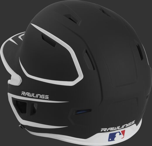 Back left view of a matte black/white MACH series batting helmet with air vents
