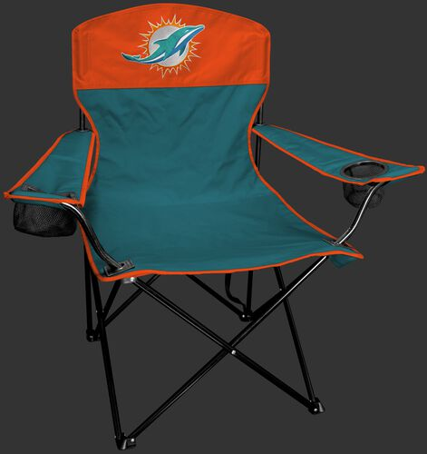 Front of Rawlings Aqua Green and Orange NFL Miami Dolphins Lineman Chair With Team Logo SKU #31021074111