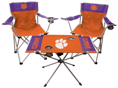 A NCAA Clemson Tigers 3-piece tailgate kit with two chairs and an endzone table