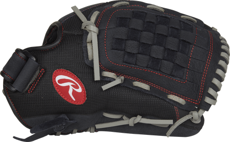 Thumb view of a black R125BGS 12.5-inch Renegade Series infield/outfield glove with a black Basket web