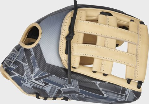Thumb of a black/camel 2022 REV1X 12.75-Inch outfield glove with a sublimated design on the thumb and camel H-web - SKU: REV3039-6