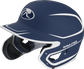 Left angle view of a MACHEXTR Rawlings Mach EXT Junior helmet with a two-tone matte navy/white shell image number null