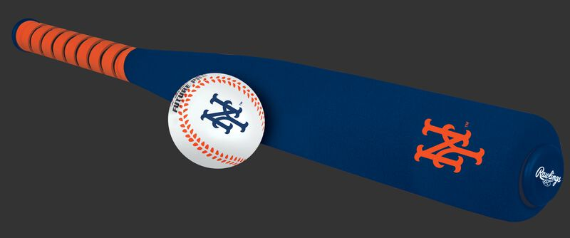 Side of Rawlings New York Mets Foam Bat and Ball Set in Team Colors With Team Name and Logo On Front SKU #01860017111