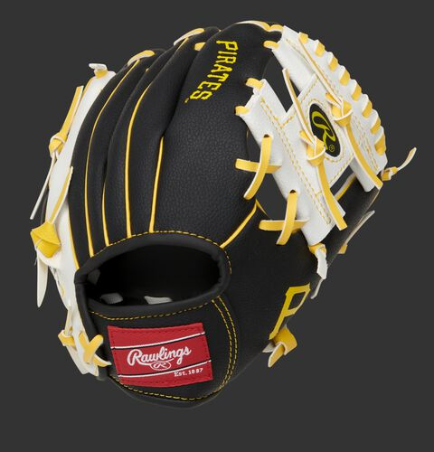 Back of a black/white Pittsburgh Pirates 10-inch I-web glove with a red Rawlings patch - SKU: 22000021111