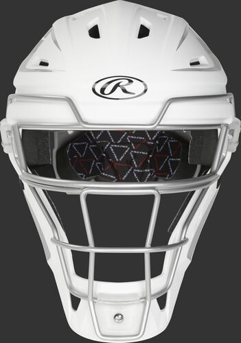 Front of a white/silver CHV27J Velo 2.0 hockey-style catcher's helmet
